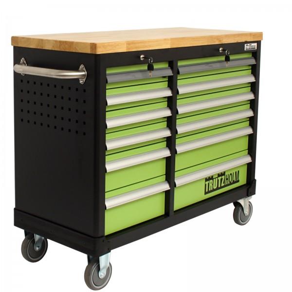 TrutzHolm® Werkstattwagen DELUXE 2 x 6 Schubladen leer mit massiver Arbeitsplatte