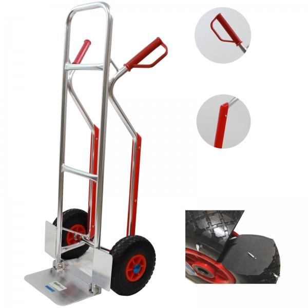 Alu-Sackkarre PU Rad mit Treppenrutsche 200 kg Stapelkarre Transportkarre Alu