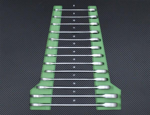Profi Werkstattwagen Einlage grün Knarren-Ring-Maulschlüssel-Satz mit Ratschenfunktion 8-22 mm
