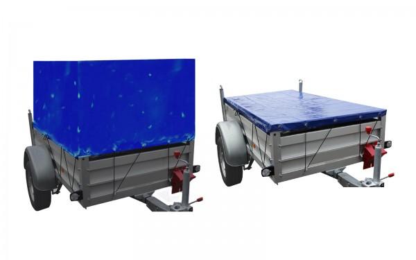 Anhänger Hoch- oder Flachplane Blau mit Gummigurt verschiedene Größen