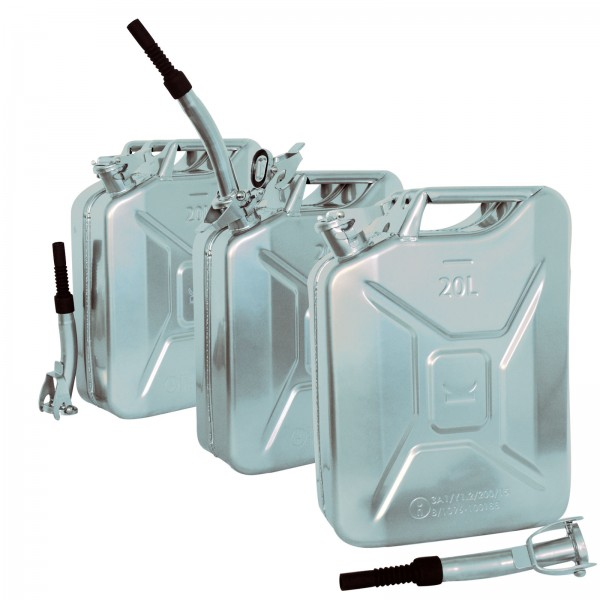 3x Metallkanister 20l Benzinkanister + Ausgießer flexibel silber chrom Optik