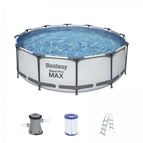 Bestway Steel Pro Max Frame Pool 56418 Komplett Set 366x100cm rund mit Leiter & Filterpumpe & Filter