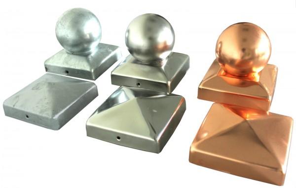 Pfostenkappe Abdeckkappe Edelstahl - verzinkt - Pyramide - Kugel diverse