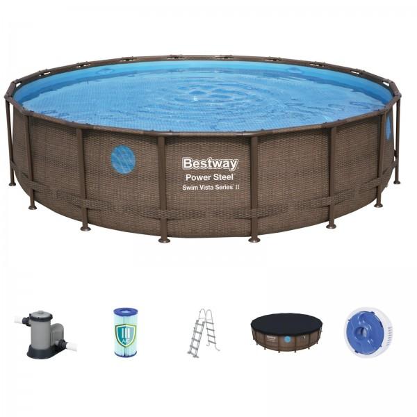 Bestway Power Steel Swim Vista Series 56725 488x122cm Pool Set rund