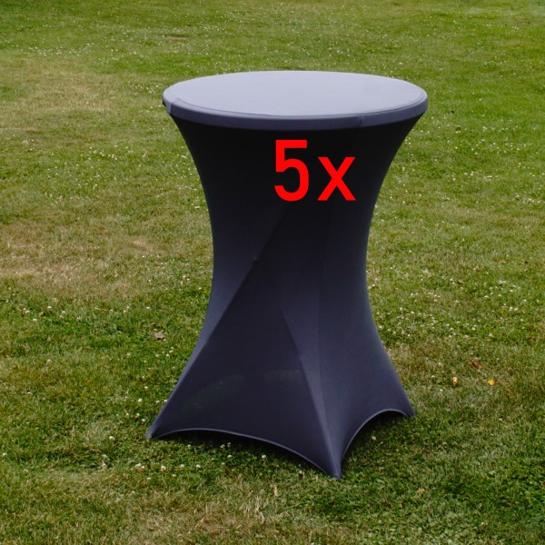 5x Stehtischhusse Partytisch Bistrotisch Stehtischhusse Decke 80cm GRAU