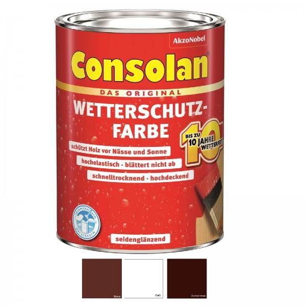 Consolan Wetterschutzfarbe 5 L Farbauswahl Wetterschutz Holzfarbe Deckfarbe