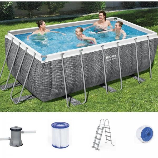Bestway 56722 Power Steel Frame Pool 412x201x122 cm eckig rattan grau