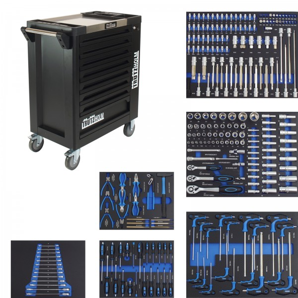 TrutzHolm® Werkstattwagen schwarz 8 Schubladen 249 tlg. bestückt Edelstahlplatte Werkzeugwagen