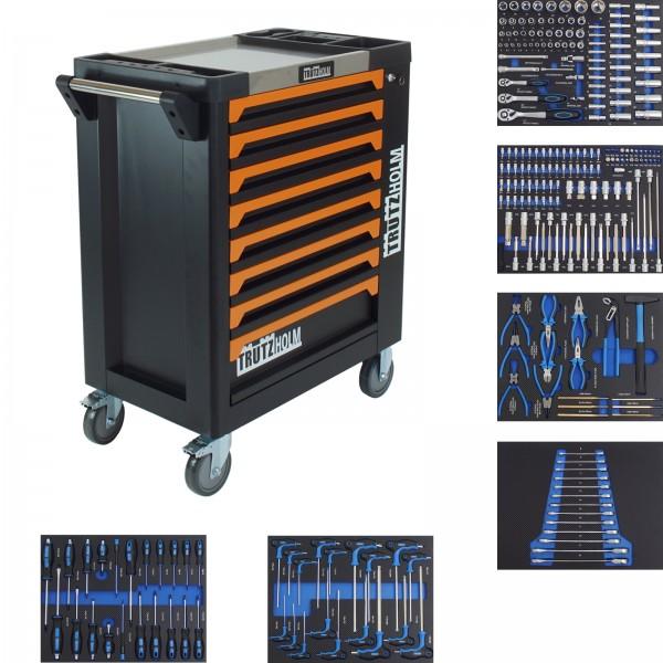 TrutzHolm® Werkstattwagen orange 8 Schubladen 249 tlg. bestückt Edelstahlplatte Werkzeugwagen