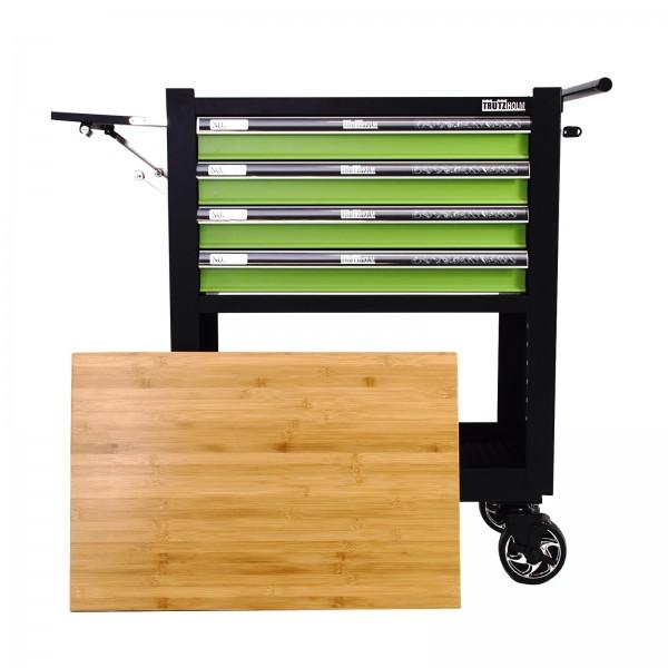 Werkstattwagen Werkzeugwagen 4 Schubladen leer grün Gummibaum Platte Profi Compact