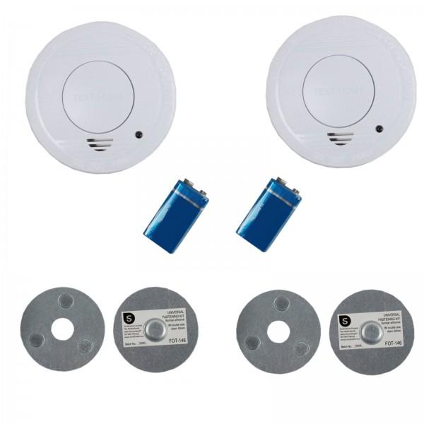smartwares 2x Rauchmelder Feuermelder + 2 magnetisches Montageset FSM-11510