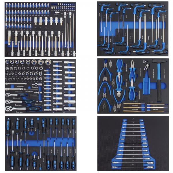Profi Werkstattwagen Einlagen blau Werkzeugeinlagen 520x400mm bestückt 6 Stück