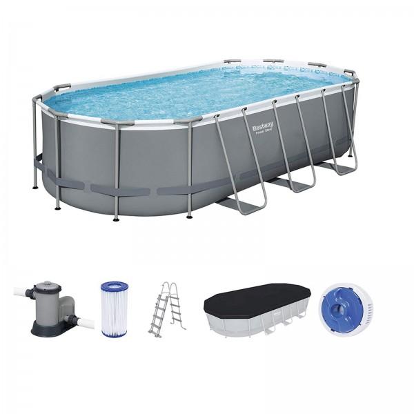 Bestway Steel Pro Frame Pool Set 549x274x122 cm oval Komplett Set 56710