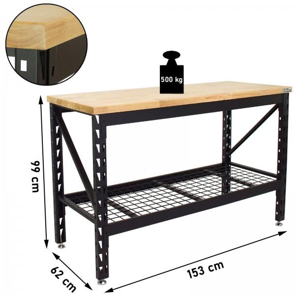 TrutzHolm® Werktisch Arbeitstisch Gummibaum Arbeitsfläche Stahlgestell 500kg Werkbank 153x62x99 cm