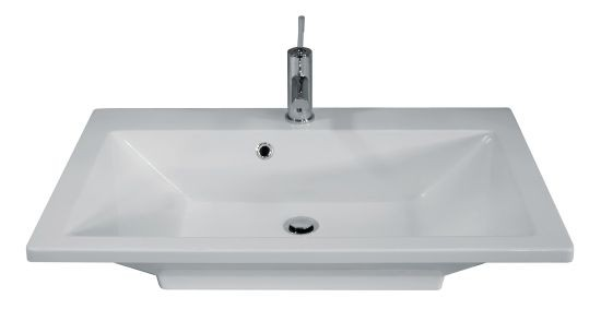 Fackelmann Waschtisch Domino Becken 80 x 17 x 50 cm Waschbecken weiß