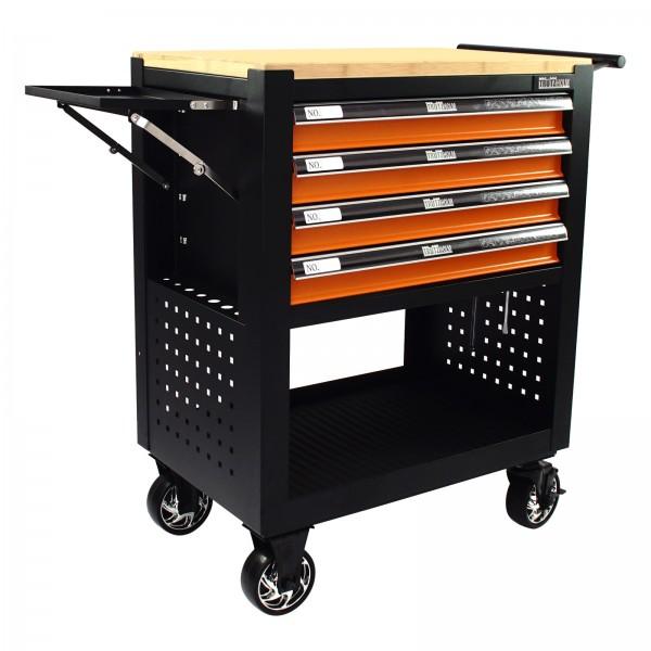 Werkstattwagen Werkzeugwagen 4 Schubladen leer orange Gummibaum Platte Profi Compact