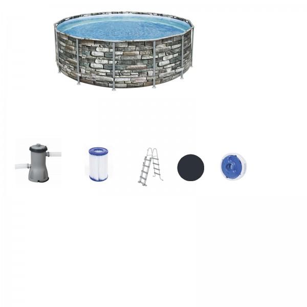 Bestway 56993 Power Steel Frame Pool 427x122cm Komplett-Set mit Filterpumpe rund Stein-Optik