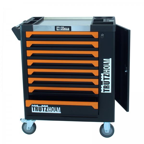 TrutzHolm® Werkstattwagen Orange Leer 8 Schubladen robust und vielseitig einsetzbar Werkzeugwagen