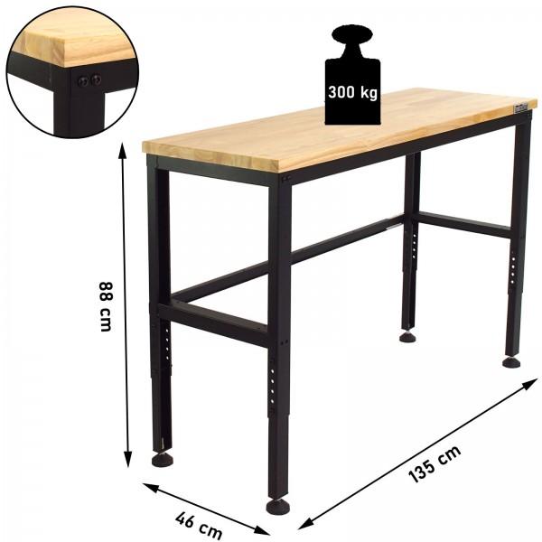 TrutzHolm® Werktisch Arbeitstisch Gummibaum Arbeitsfläche Stahlgestell 300kg Werkbank 135x56x88 cm
