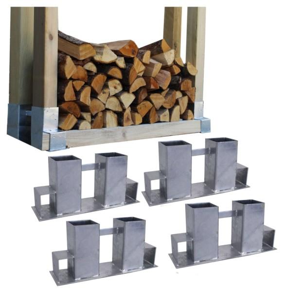 4x Holzstapelhilfe Stapelhilfe Holzstapelhalter Brennholz Kaminholz Gestell Holz