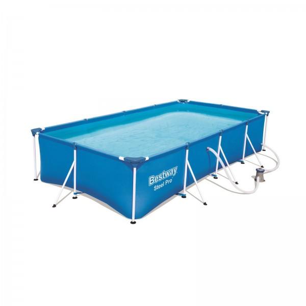 Bestway Power Steel Frame Pool 400x211x81 cm rechteckig 56424 Filterpumpe