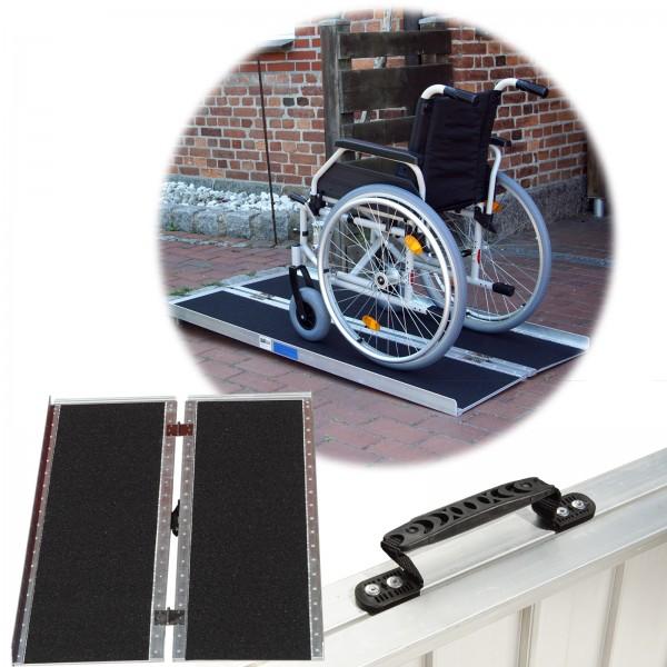 TrutzHolm® Rollstuhlrampe 122 - 213 cm bis 270 kg klappbar Alu Friktionsbeschichtung