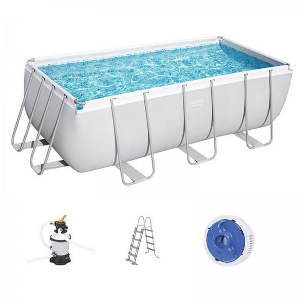 Bestway Power Steel Frame Pool 412x201x122 cm eckig 56457 grau