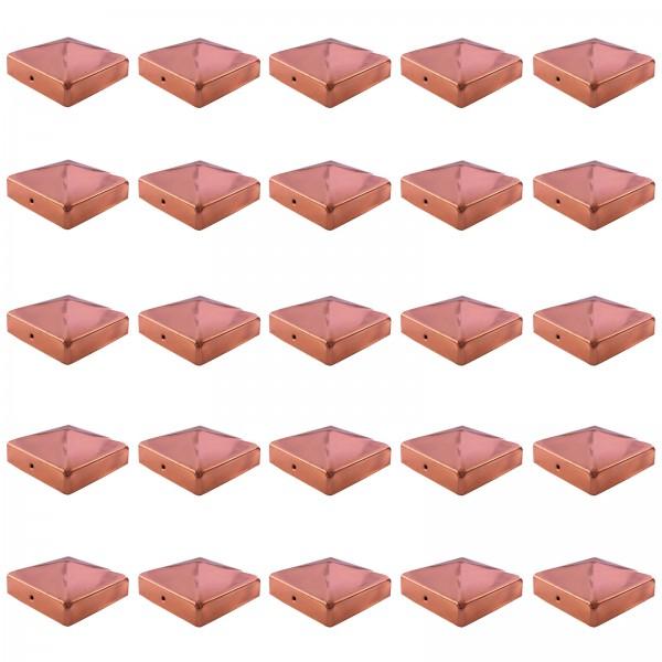 25x Pfostenkappe Kupfer 71 mm Pyramide Abdeckkappe für Pfosten 7 x 7 cm