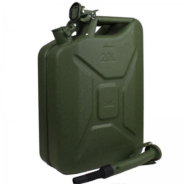 Metallkanister 20l Benzinkanister + Ausgießer mit Halter Oliv Hammerschlag