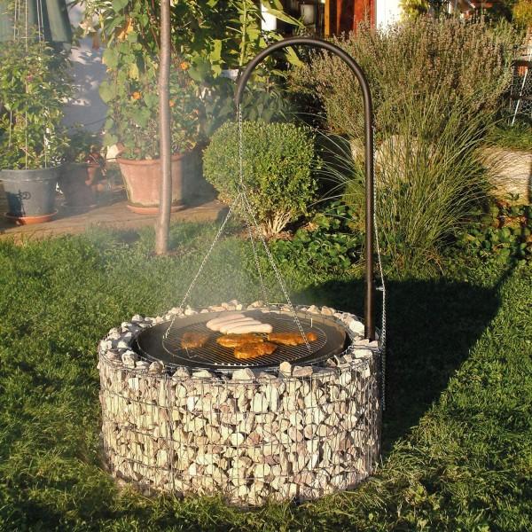 bellissa Feuer- und Grillstelle aus Gabionen - 95580 inkl. Rost, Galgen und Ketten