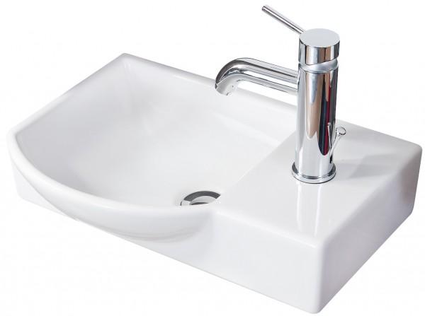 Fackelmann Waschbecken Becken links Badmöbel Gäste WC 45 cm Waschtisch