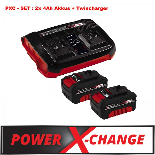 Einhell PXC Set Ladegerät Power X-Change Twincharger + 2x 4 Ah Akkus