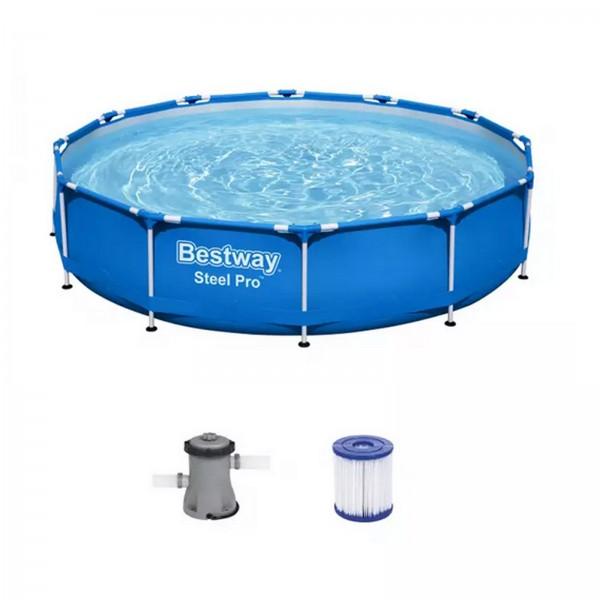 Bestway Steel Pro Frame Pool Set,rund 366 x 76 cm 56681 mit Filterpumpe