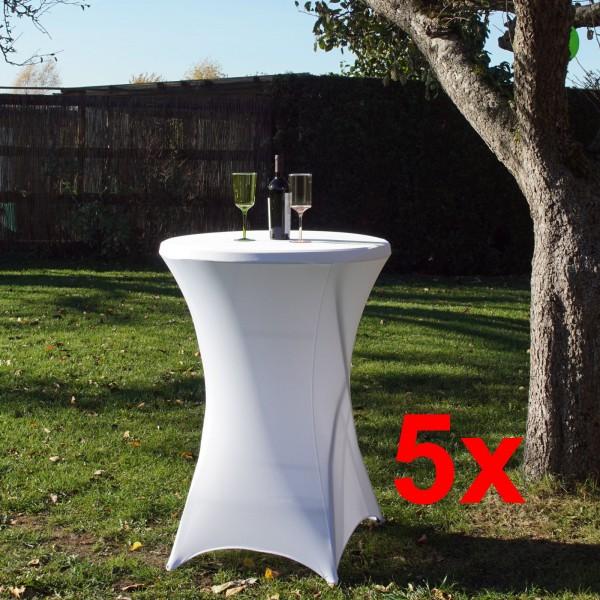 5 x Tischdecke Husse Partytisch Bistrotisch Stehtischhusse 80cm weiß