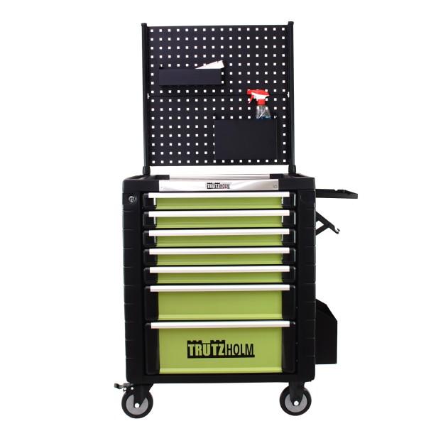 TrutzHolm® Werkstattwagen mit Rückwand 7 Schubladen leer Werkzeugwagen mit Ablagen und Papierrollen