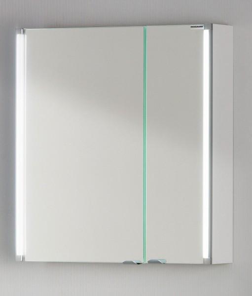 Fackelmann Spiegelschrank LED 61 cm weiß glanz Bad Schrank Spiegel Badmöbel