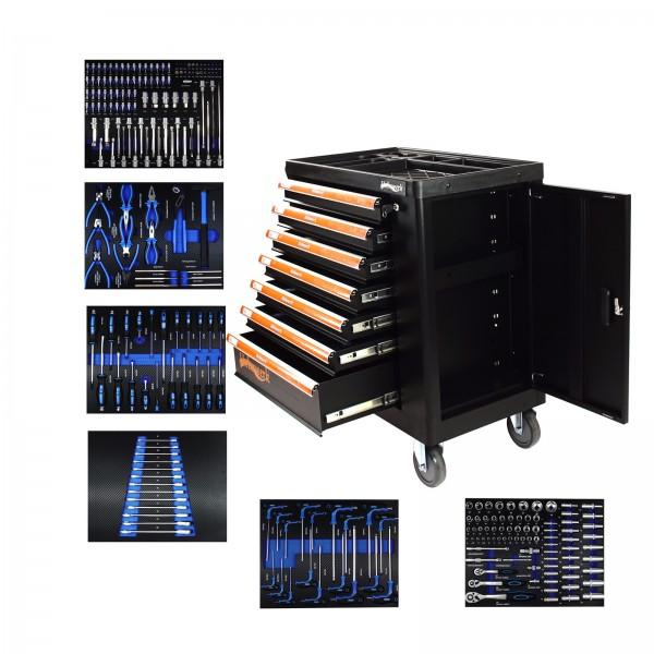 Holmwerk® Werkstattwagen schwarz 249 tlg. XXL bestückt gefüllt Assistent Werkzeugwagen