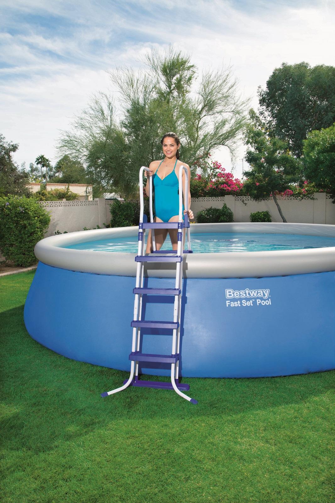 Bestway sicherheitsleiter 132 cm poolleiter leiter pool for Garten pool leiter